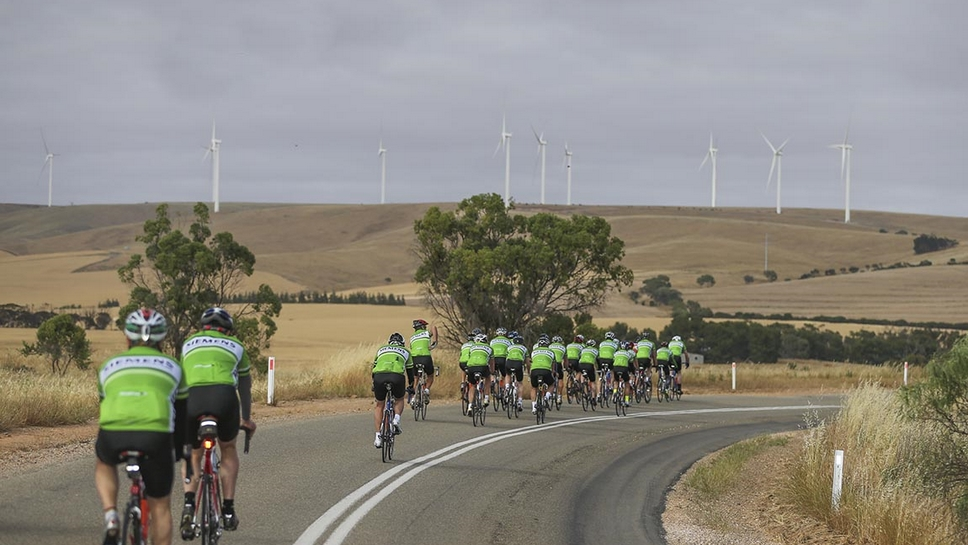 Cadel and Siemens ride through Snowtown